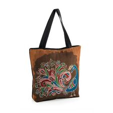 Ladies Brown Tone Peacock Motif Design Canvas Tote Bag Shopper Shoulder Beach
