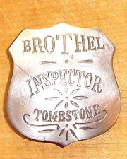 BROTHEL INSPECTOR TOMBSTONE BADGE WITH PIN BACK WESTERN SHERIFF MARSHAL