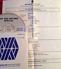RADIO SHOW: OFF THE RECORD SPECIAL 11/18/96 METALLICA TRIBUTE