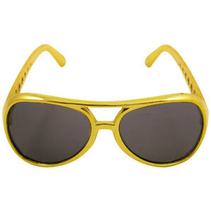 70s 70's 1970s Fancy Dress Rock Star Sunglasses Gold Elvis Glasses New