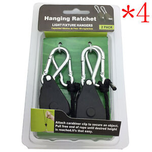 4Pairs Ropes Hanger Heavy Duty Rope Ratchet Hydroponics for Plant Grow Light New