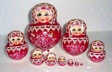 "Beautiful Russian Nesting Doll~10pc~5""~GORGEOUS DARK RED AND WHITE~HANDPAINTED"