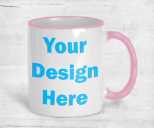 Coffee Mug Pink Handle Personalized 11oz Cup Custom Photo Text Logo Ceramic Tea