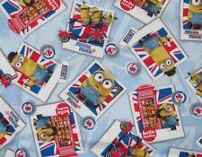 Blue Minions London Poloroids Cotton Poplin Fabric 90cm x 110cm