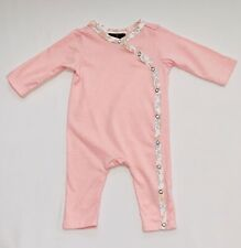 7 For All Mankind Floral Trimmed Peach/Pink White Striped Long Romper. 3-6 mos.