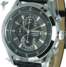 Mens SEIKO SPORTS BRONZE FACE CHRONO WITH LEATHER BUCKLE STRAP SPC167P2