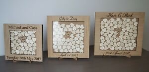 Personalised Rustic Wedding Drop Box,Wooden Guest Book, Hearts, Wooden, Oak.