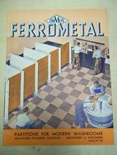 Vtg Milwaukee Stamping Company Brochure~Ferrometal Partitions~Catalog~1946