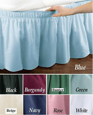 """TWIN EXTRA LONG SIZE WRAP AOUND 14"""" DROP BED SKIRT DUST RUFFLE NAVY BLUE"""