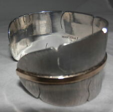 Michael Kirk Satin Finish Feather Sterling Silver/14kt Gold Cuff Bracelet