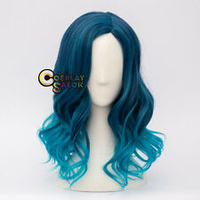 Ombre Mixed Blue 40cm Lolita Curly Women Party Hair Cosplay Wig Heat Resistant