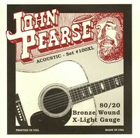1 Set! John Pearse 100 100XL Acoustic Guitar Strings Bronze X-Light .010-.047W