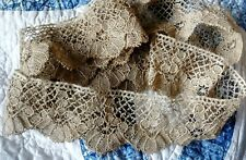 """2.5"""" wide  Lace Trim BOBBIN  antique 2 YARDS hand made Scalloped edging"""