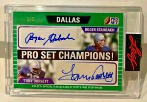 Roger Staubach / Tony Dorsett 2021 Leaf Pro Set Emerald Autograph Auto #'d 1/2