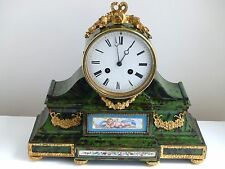 Antique 19th Century French 'faux' Green Tortoiseshell Clock/Sevres Style Panels