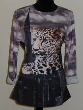 BODY NEEDS - ALLOVERPRINT SHIRT,LEOPARD,stretchig,Gr.44,GLITZERSTEINE,NEU!