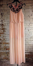 Gracia Peach Sheer Lined Palazzo Jumpsuit L New Elegant Spangles Cross Bodice