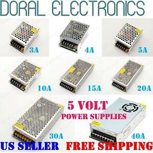 110V 220V DC 5V 3A 4A 5A 10A 15A 20A 30A 40A 5 VOLT Power Supply LED Strip Light