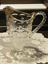 Early American Pattern Glass Star Hexagon gold flashed pitcher