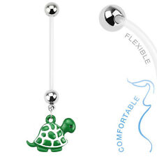 Turtle Dangle BioFlex Flexible Pregnancy Navel Belly Button Ring 14G