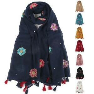 Womens soft touch big flower embroidered tassel end neck wrap head scarf hijab