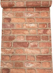 Rustic Red House Brick Effect Slight Imperfect Textured Vinyl Wallpaper