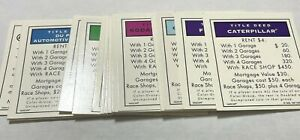 Game Parts Pieces NASCAR Monopoly 1997 Parker Brothers 28 Title Deed Cards