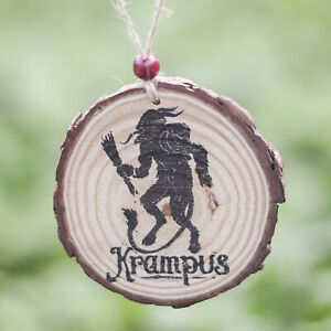 Krampus Handmade Wood Hanging Decoration or Magnet Rustic Home Gothic Christmas