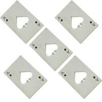 5 Pcs Stainless Steel Wine Beer Bottle Opener Credit Card Ace Poker Card Silver