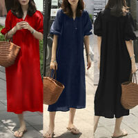 ZANZEA Women Casual Loose Puff Long Sleeve Elastic Cuffs Cotton Linen Midi Dress