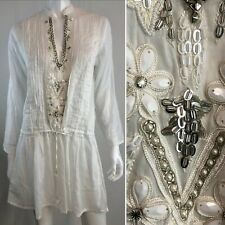 Taj Sabrina Crippa Small White Beaded Embroidery Tunic Shirt Dress Anthropologie