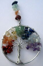 """SUNCATCHER """"TREE OF LIFE"""" MULTI COLOURED NATURAL GEMSTONE CRYSTALS GIFT BOXED"""