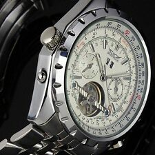 Automatic Mechanical Movement Men Silver Stainless Steel Watch White Dial Strap