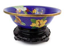 Vintage Cloisonne Bowl and Stand Cobalt Blue with Floral Design