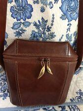 DE VECCHI by Hamilton Hodge ITALIAN VINTAGE LEATHER Shoulder Bag Gold Hardware