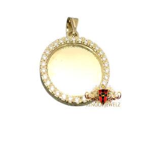 Genuine 10K Yellow Gold Round Medallion Picture Frame Memory Mini Charm Pendant