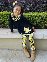 Girls Toddler Fall Gold Leaf Stripe & Pom Scarf Boutique Outfit 2T 3T 4T 5 6 7 8