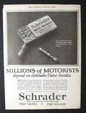 Original 1925 Schrader Tire Valves Ad 10 x 13.5 MILLIONS OF MOTORISTS