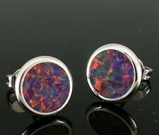 *CUTE** Sterling Silver 925 BLACK CHERRY LAB FIRE OPAL ROUND STUDS  10x10mm
