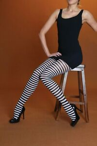 Quality Tights UK Made Striped Fancy Dress Black White Green Red Purple Yellow