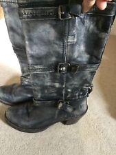 Ladies Frye Leather Biker Style Long Boots Grey size 5.5/6