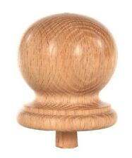 "Staircase Round Finial Newel Post Cap, Red Oak Wood (3.25"" D x 3.5"" H) FN-0103"