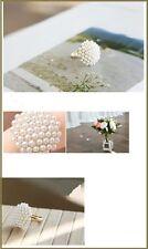Anillo de perlas pequeñas y oro amarillo chapado para uso diario