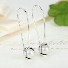 .925 Sterling Silver Freshwater Pearl Drop Chain Hook Threader Earrings Ear Stud