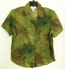 Susan Graver Women's Top Green Floral Blouse Size L