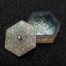 Jewelry Hexagonal Trinket Box Mother of Pearl Inlay Lacquered Flowers Storage