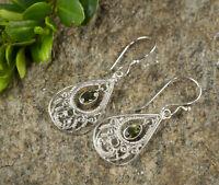 4cm MOLDAVITE Earrings Sterling Silver Filigree Bezel Trillion Cut Faceted J0549