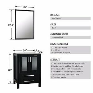 "NEW 20""x 27.6"" Framed Wall Mirror Bathroom Rectangle Black"