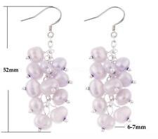 Charm Women Natural Baroque Purple Pearl Dangle Earring Silver Hook Ear Stud