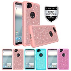 For Google Pixel 2 Hybrid Glitter Diamond Bling Grid Phone Case Cover + Screen P